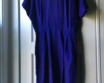 1980s purple linen dress  / 80s dress has pockets / Nordstrom linen dress