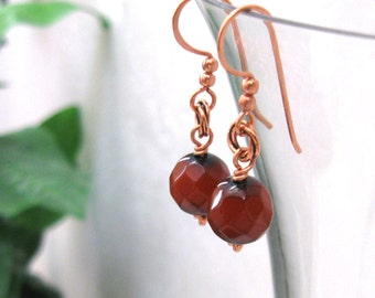 Russet Red Agate Ombre Earrings, Choose Copper Hooks or Hypoallergenic Niobium