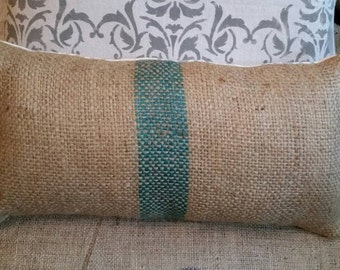 Reclaimed burlap coffee bean bag pillow