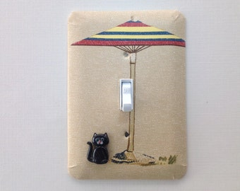 Cat Lover, Switch Plate Cover, Switch Plate, Decorative Switch Plate, Home Decor, Single Toggle, Cat Under a Beach Umbrella
