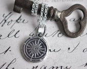 small compass rose wax seal necklace ... direction, guidance, navigation - sterling silver nautical wax seal jewelry