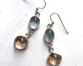 Aquamarine and topaz dangle earrings, sterling silver dangle earrings with natural aquamarine and topaz cabochons
