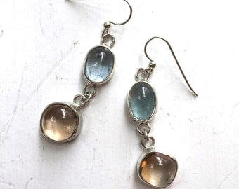 Aquamarine and topaz dangle earrings, sterling silver dangle earrings with natural aquamarine and topaz cabochons