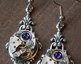 Steampunk Earrings with Heliotrope crystal