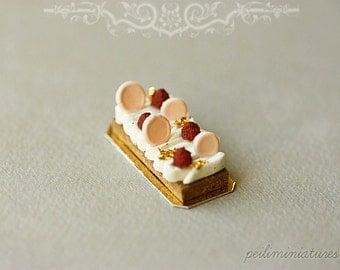 Dollhouse Miniature Food - Crème Au Confit De Vanille Et Framboises