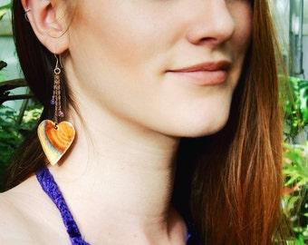 Rainbow Heart Earrings, Amethyst Earrings, Pink Tourmaline Earrings, Crystal Dangle Earrings, Hammered Copper Earrings, Healing Crystals