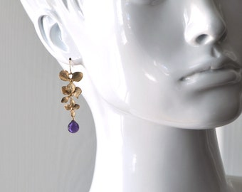 Gold Orchid and Amethyst Earrings