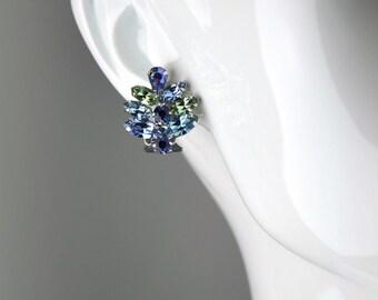 Vintage Weiss Blue Rhinestone Small Leaf Clip Earrings