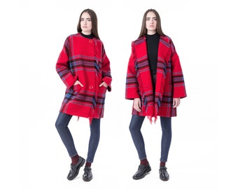 PLAID JACKET wool coat Cape vintage red women Tassels sweater fall winter oversize Medium / Small better Stay together