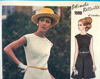 Vintage Vogue Mod Dress Pattern Vogue Couturier Design 1988 Belinda Belville Factory Folded with Label Bust 32.5