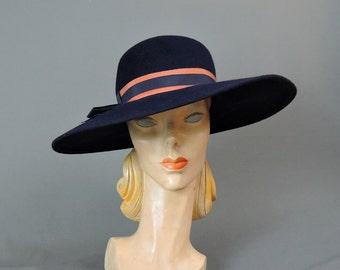 Vintage 1950s Wide Brim Hat, fits 21-22 inch head, 15 inches wide, Dark Blue Wool Felt, Janyth Roy
