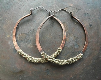 Copper Hoop Earrings Pyrite Earrings Large Hoops Big Hoop Earrings Gypsy Jewelry Daniellerosebean