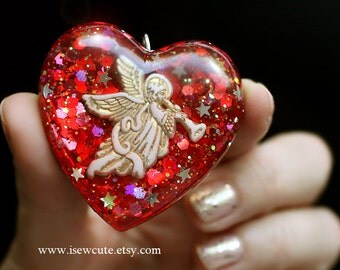 Angel Jewlery, Red Heart, Angel Love Necklace, Resin Pendant, Heart Pendant, Religious Gift for Her, Love Token, Handmade by isewcute