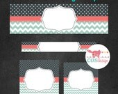 INSTANT DOWNLOAD - DIY Blank Etsy Banner Set - Premade Etsy Banner Set - Shop Icon Size Included - Dots and Chevron