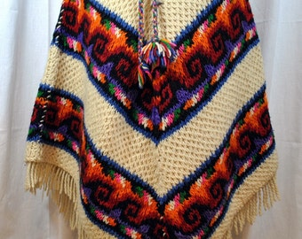70s Fringed Wool Cape Poncho Wrap Off White Red Orange Green - Lace up Front with Pom Poms and Collar
