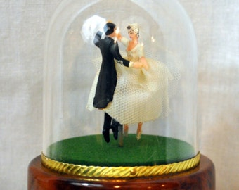 Vintage Reuge Swiss Ballerina Music Box Wedding Bride & Groom Wedding March