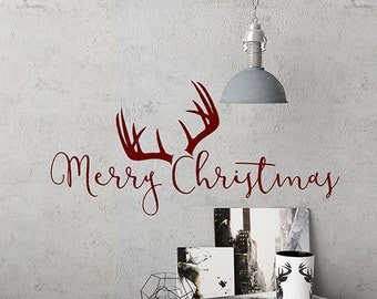 Merry Christmas Decal, Rustic Christmas Decor, Deer Antlers Wall Decal, Merry Christmas Stickers, Rustic Christmas Decorations, Deer Decals