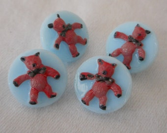 Set of 4 VINTAGE Small Painted Teddy Bear Blue Glass BUTTONS