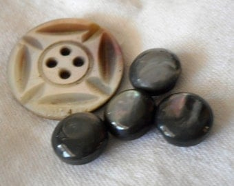 Lot of 5 VINTAGE Iridescent Smokey Gray Shell BUTTONS