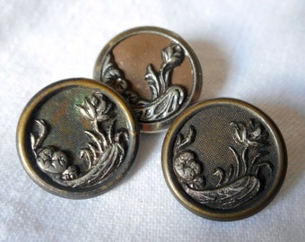 Lot of 3 ANTIQUE Water Lily Flower Metal BUTTONS