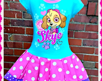 girls Puppy PAw Patrol dress Skye dress 2T 3T and 4T ready to Ship
