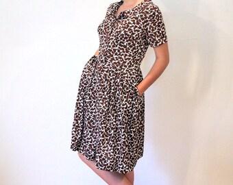 Shelton Stroller 60s Dress M, 60s Day Dress, Floral Vintage 1960s Dress, Slinky Nylon Dress, Brown White Floral Dress M Medium
