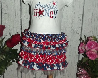 American Honey Red White and Blue Stars Fourth of July Ruffled T-Shirt Dress