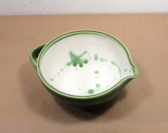 Mixing Bowl - Green and White Mixing Bowl - Batter Bowl - Food Prep - Baking - Cooking - Kitchenware - Home Decor - Handmade Pottery