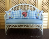Dollhouse Miniature Wire Bench, Daisies and Ladybugs, 1/12th Scale