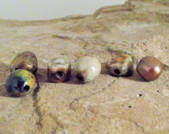 Handmade wood-fired beads Handmade ceramic beads Beads for Jewelry making