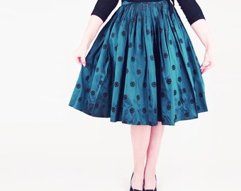 50s Iridescent Dark Green Full Skirt with Flocked and Printed Pattern S