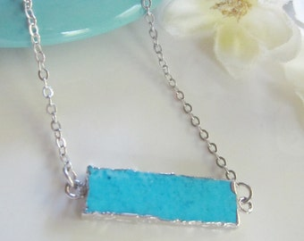Turquoise Bar Necklace, Silver Electroplated, Horizontal Pendant, Long Layering Necklace, Gardendiva