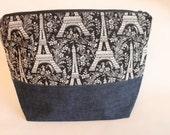 Large Zipper Pouch, Sweater Knitting Bag, Eiffel Tower & Denim