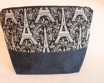 SALE Large Zipper Pouch, Sweater Knitting Bag, Eiffel Tower & Denim