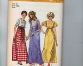 1970s Vintage Sewing Pattern Simplicity 9864 Misses High Waist Dress Size 10 Bust 32 1/2 70s 1972