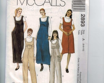 Misses Sewing Pattern McCalls 2893 Misses and Petite Jumper Dress and Jumpsuit Size 6 8 10 Bust 30 31 32 33 UNCUT