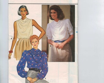 1980s Vintage Sewing Pattern Butterick 6638 Misses Drape Front Blouse with Puff Sleeves Size 12 Bust 34 80s UNCUT