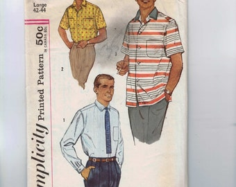 1950s Vintage Sewing Pattern Simplicity 2081 Mens Short Long Sleeve Shirt Size Large Chest 42 44 50s INCOMPLETE