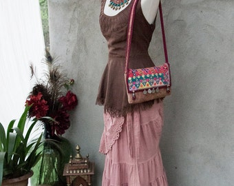 BOHEMIAN GYPSY BAG - Hand Purse Shoulder Clutch Hippie Boho Shabby Chic Vintage Recycle Upcycle India Patchwork - Red Pink Purple Brown - 18