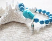 Turquoise Feather and Skull Bracelet with Swarovski Crystals