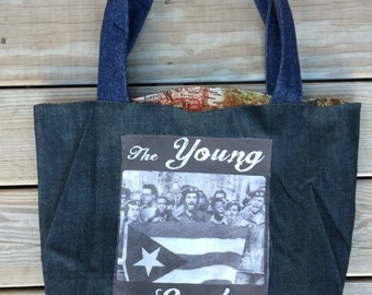 Tote bag, Young Lords Party, Puerto Rican Nationalist Group, Denim Tote, CUSTOM ORDER