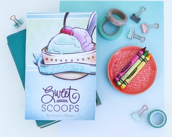"Instant Digital Download - Printable Coloring Book - ""Sweet Scoops"" - coloring for adults and coloring for kids - E-Book"