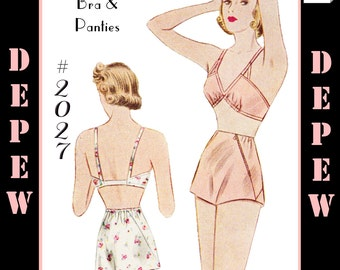 Vintage Sewing Pattern Reproduction 1930's Bra and Panties Multisize #2027 - INSTANT DOWNLOAD