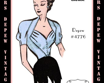 Vintage Sewing Pattern 1940's Sweetheart Blouse in Any Size - PLUS Size Included - Depew 4776 -INSTANT DOWNLOAD-
