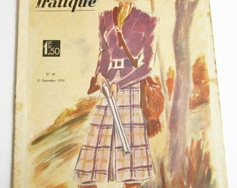 1930's Vintage French Magazine La Mode Pratique September, 1939 WWII Fashion & Sewing Pattern