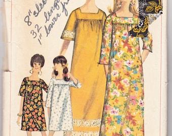 "Vintage Sewing Pattern 1960's Simplicity 6792 Ladies' Muu Muu Dress 34"" 36"" Bust"