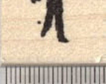 Tiny Zombie Rubber Stamp, Silhouette Walker A29303 Wood Mounted