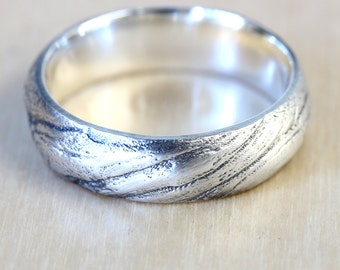 Bristlecone Pine Tree Bark Wedding Band in Recycled Silver,  Mens Wedding Band Wood, 6mm Wedding Band, California Ring, Size 10 Ring