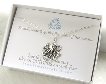 Best Friend Gift • Octopus Necklace • Best Friend Necklace • BFF Gift • Octopus Charm • Sterling • Steampunk • Funny • Humorous