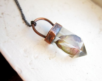 10% OFF False Quartz Necklace with Maple Seed ||| Real Flora False Crystal Point